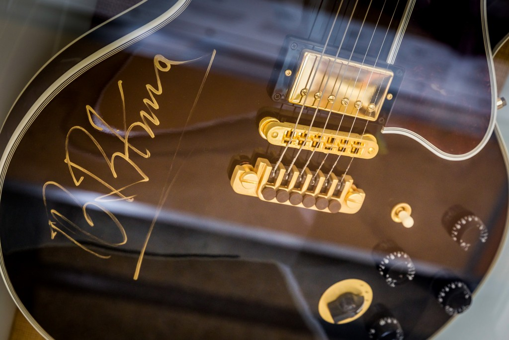 BB King Guitar.  A visit to the Memphis Cotton Museum. May 13, 2015.