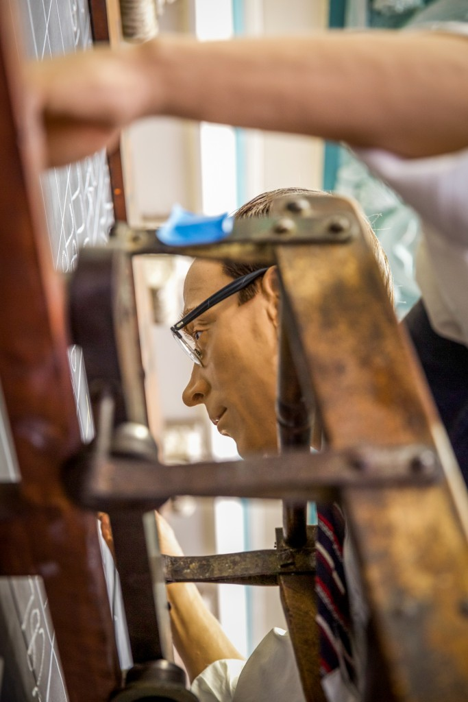 On a Ladder. A visit to the Memphis Cotton Museum. May 13, 2015.