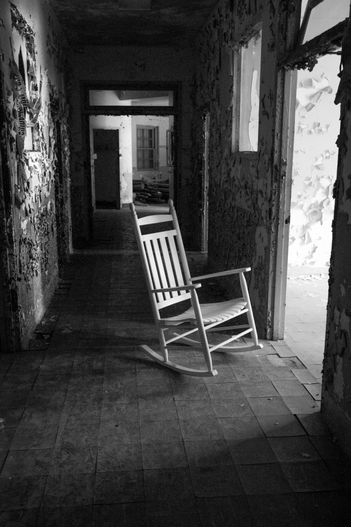 Balcony - Rocker For One.  Tour of the US Merchant Marine Hospital, French Fort, Memphis TN, April 2015.